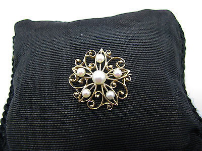 c157 Beautiful Vintage 14k Yellow Gold Filigree Flower Brooch with (6) Pearls