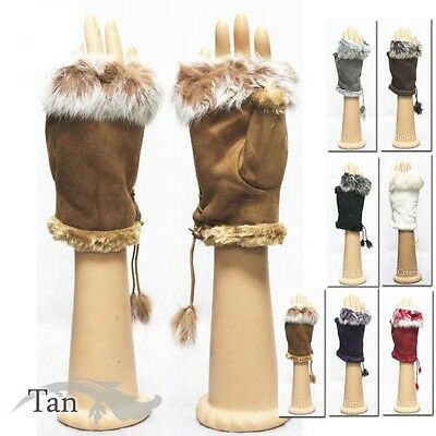 Fashion Winter Soft Rabbit Fur Trim Fingerless Half Cuff Off Gloves