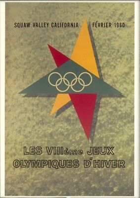 VINTAGE 1960 VIII OLYMPIC Winter Games Poster Squaw Valley CALIFORNIA Re-Strike