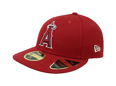 New Era 59Fifty Hat Mens MLB Low Profile Los Angeles Angels Of Anaheim Red Cap