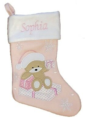 Embroidered Personalised Name Baby Pink Girl Teddy Christmas Stocking Sock