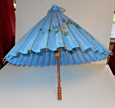 Decorative Parasol with Birds & Floral Design Wooden Handle