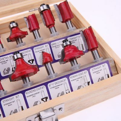 Milling Cutter Machine Woodworking Tools Router Bit For Wood Carbide Shank 15Pcs
