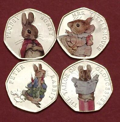 2018 Set Beatrix Potter 50p Coin Coloured Stickers UNC 4 Coins From Sealed Bag