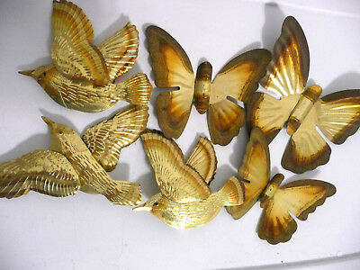 """LOT 6 THIN BRASS METAL DECORATOR BIRDS and BUTTERFLYS APPROX 5"""" L"""