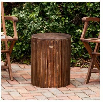 Rustic Wooden End Table Accent Stool Seat Patio Outdoor Wood