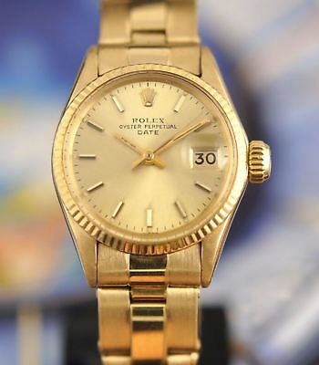 Vintage Rolex 18k Gold Oyster Perpetual Lady Date Ladies Watch