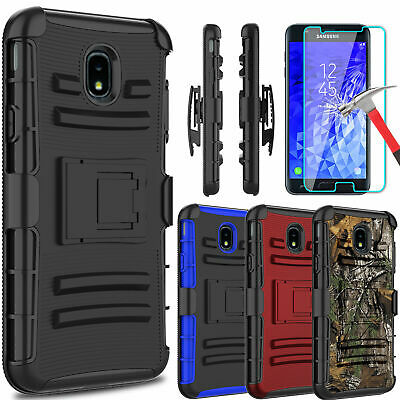 For Samsung Galaxy J7 Crown Kickstand Belt Clip Case Cover With Screen Protector