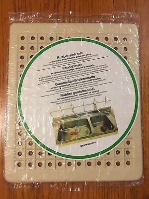 Vtg MINT New Old Stock off-White Kitchen Rubber Sink Mat (Made Indonensia)