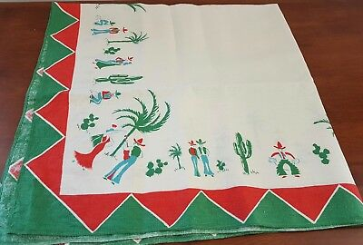Vintage 60s Woven Linen MEXICAN Theme CREAM GREEN RED Square TABLECLOTH