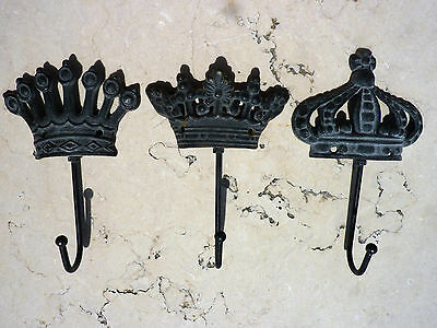 Cast Iron Metal Set/3 Crown Hat Coat Robe Bath Towel Wall Hook Home Garden Decor