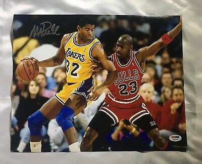 a59bcc881976 Magic Johnson Signed Autographed with Michael Jordan 11x14 Photo PSA DNA COA