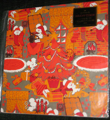 Vintage 70s Mice Orange Red Hallmark Gift wrap Wrapping Paper 2 sheet Christmas