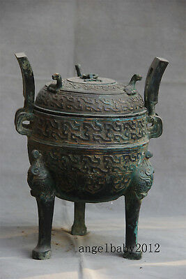 """17"""" Old China antique Warring States bronze Kneeling Attendants Candlestick"""