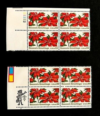 1985 Poinsettia USPS Seasons Greetings Stamps/ two blocks of 4 stamps