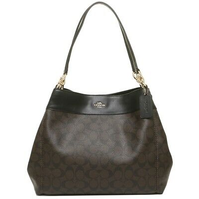 d2a7034c365b NWT Coach F27972 Signature Lexy Coated Canvas Leather Shoulder Bag Brown  Black