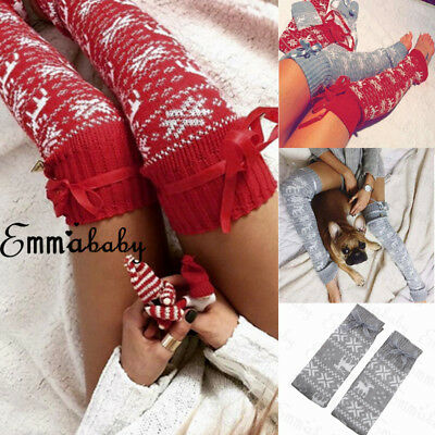 877a05a1c32cc New Women Winter Warm Long Socks Christmas Thigh High Stockings Knit Over  Knee