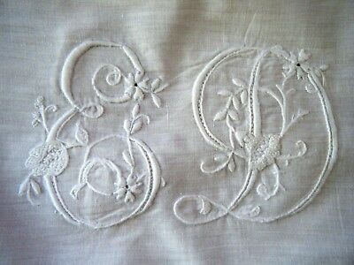 Antique Tablecloth H done needle lace raised emb/ry ED mono Maltese Cross