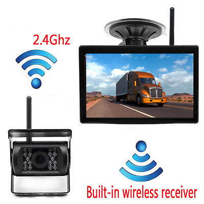 """5"""" LCD Monitor Wireless Rear View Backup Camera Night Vision For RV Truck Bus"""