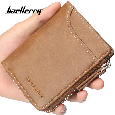 Men Wallet Zipper Around Credit Card Holder Leather Fashion Male Clutch Purse