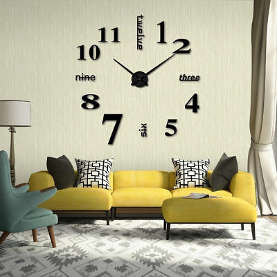DIY Large Acrylic Modern Wall Clock 3D Mirror Surface Sticker Home Office Decor