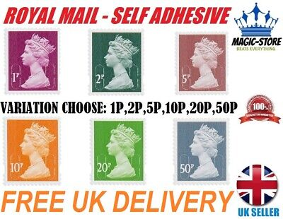 New Royal Mail 1P,2P,5P,10P,20P,50P Postage Stamps Self Adhesive No Unfranked