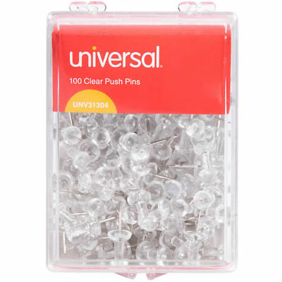 "100 Pcs Push Pin Thumb Tack Clear Color 3/8"" Drawing Cork Board Office Pushpin"