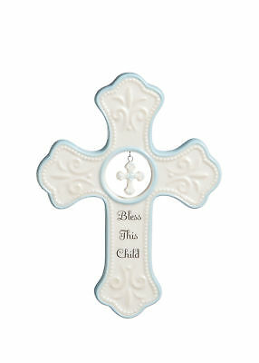 "Nat and jules hanging 6.5"" cross baby porcelain blue Nemdaco tender blessings"