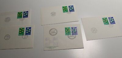 1977 Nordic Stamp Covers Air Water Set 5 - Iceland,finland,sweden,norway,denmark
