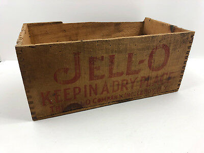 Vintage Antique JELLO Primitive Wood Wooden Box Shipping Crate Jell-o