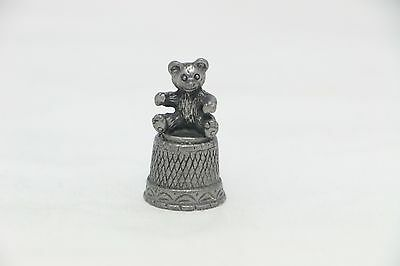 Pewter Thimble with Sitting Bear Topper