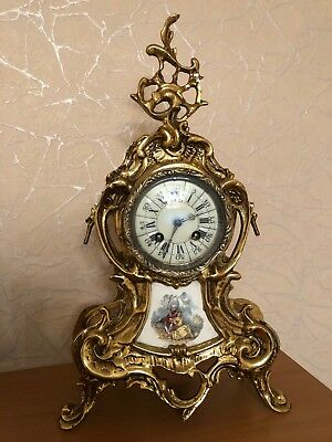 Amazing French Antique 19th Century Gilt Bronze & White Marble Mantel Clock