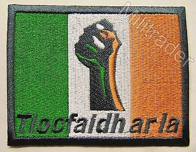 Ireland Irish Tiocfaidh Ar La Our Day Will Come Flag Patch (Gun Metal Grey)