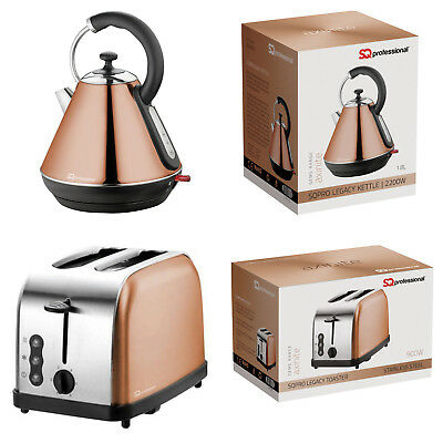 1.8L Electric Cordless Kettle Swivel 2 Wide Slot Slice Bread Toaster Copper Set