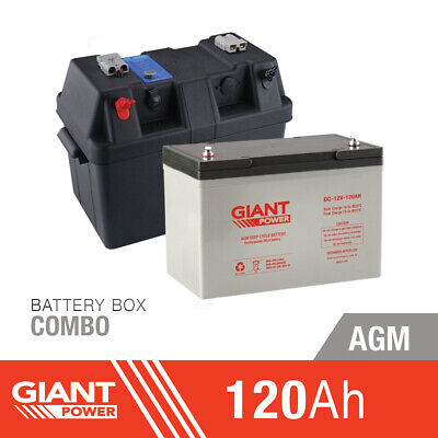 120AH 12V Deep Cycle AGM Battery Box Kit 12 Volt Power Kit for Camping