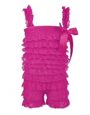 Hot Pink Baby Girls Toddlers Petti Ruffled Lace Posh Lace Romper,Free Post In Oz