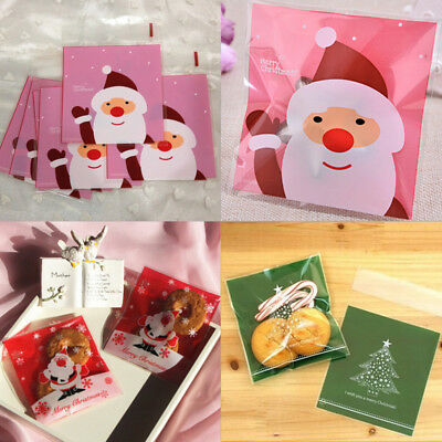 10/20 x Christmas Cellophane Bags Party Cello Cookie Candy Biscuit Gift Bag