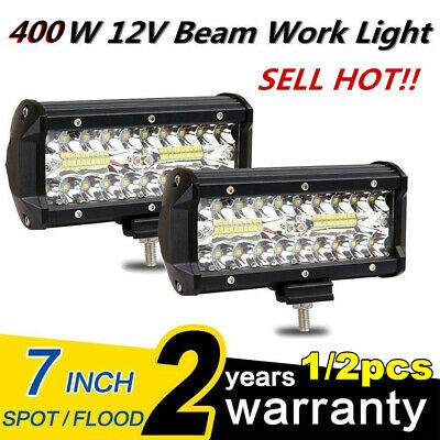"2x 7""/5""INCH 400W LED Work Light Bar Flood Pods Driving OffRoad Tractor 4WD 12V"