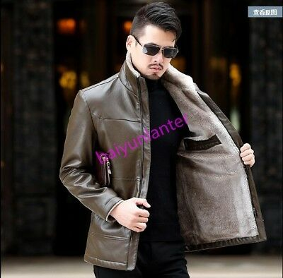 Mens PU Leather Fur Lining Lapel Vogue Jacket Winter Warm Casual Slim Overcoat
