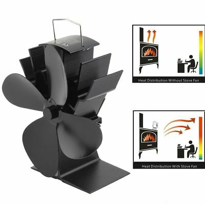 4 Blades Heat Powered Wood Stove Fan for Log Wood Burner Fireplace Eco Fan Black