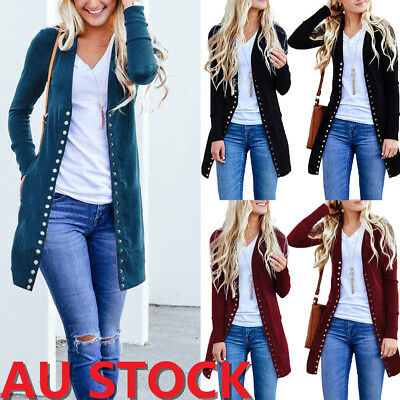 AU Womens Long Sleeve Loose Knitted Cardigan Ladies Button Jacket Coat Outwear