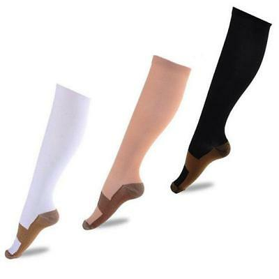 Compression Socks Knee High Copper Infused Anti Fatigue Sport Running Travel ONE