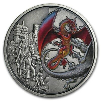 Niue - 2019 - Silver $5 Proof  Coin- 2 OZ  Silver Dragons - The Red Dragon