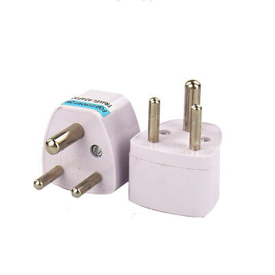 Universal UK/US/EU/AU to South Africa 3 pin Travel Power Adapter Plug White!!