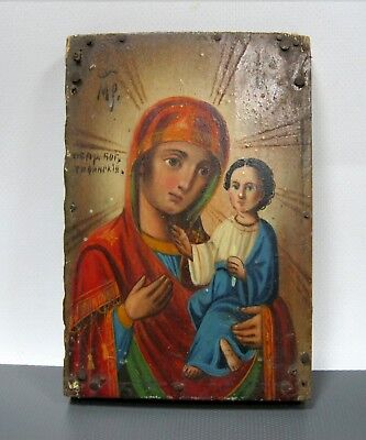 Antique Icon Mother of God of Tikhvin Orthodox Russian Empire Wood 150 x 105 mm
