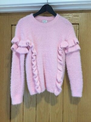 OUTFIT Girls Pink Fuzzy frill Jumper Size 11 Years