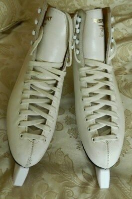 RISPORT WHITE LEATHER ICE SKATES size 41 C (7626)