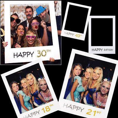 18/30/40/50th 21st Happy Birthday Paper Photo Booth Frame Props DIY Party Selfie