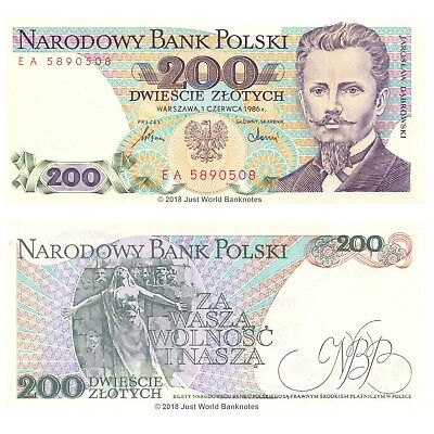 Poland 200 Zlotych 1986 P-144c Banknotes UNC