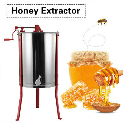 Steel Manual 4 Frame Bee Honey Extractor Honey Centrifuge for Beekeeper Easipet